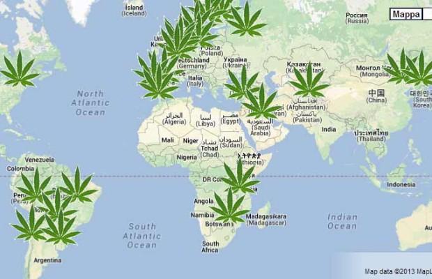 Mappamondo della marijuana