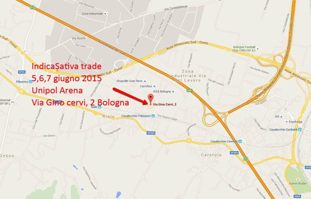Mappa per arrivare a IndicaSativa trade, all'Unipol Arena di Bologna