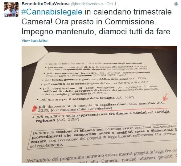 Tweet di Benedetto Della Vedova La proposta